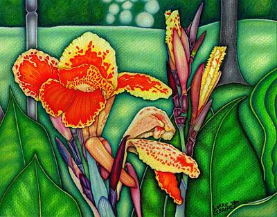 Canna Lilies In Bloom Print by Lorrie Cerrone