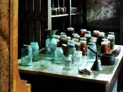 Canning Jars Ladles And Funnels Print by Susan Savad