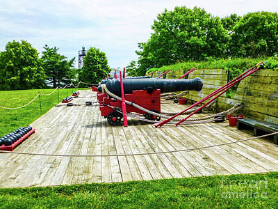 Cannons At Fort Mchenry Print by William Rogers