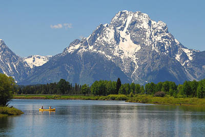 Canoe At Oxbow Bend Print by Alan Lenk