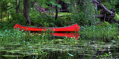 Canoe Near The Lean-to Print by David Patterson