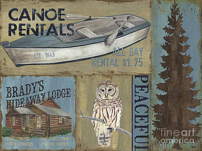 Wood Fish Painting - Canoe Rentals Lodge by Debbie DeWitt