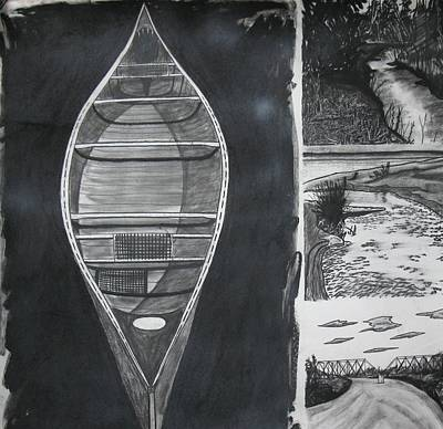Canoe With Three Rivers Print by Lee Davies