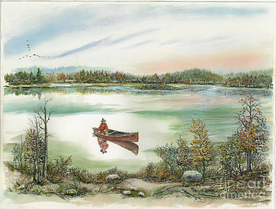 Canoeing On The Lake Print by Samuel Showman