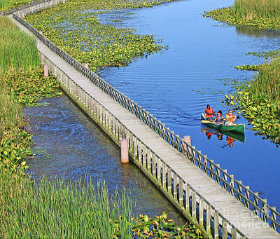 Canoeing The Marsh Print by Ann Horn