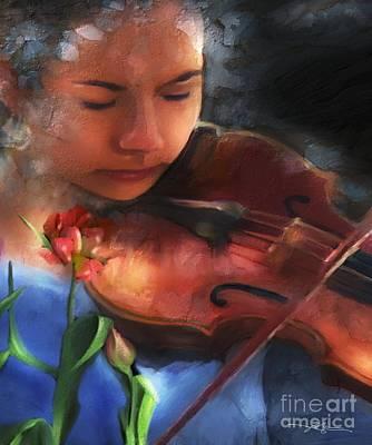 Violin Digital Art - Cantata by Bob Salo