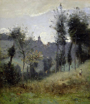 Field. Cloud Painting - Canteleu Near Rouen by Jean Baptiste Camille Corot