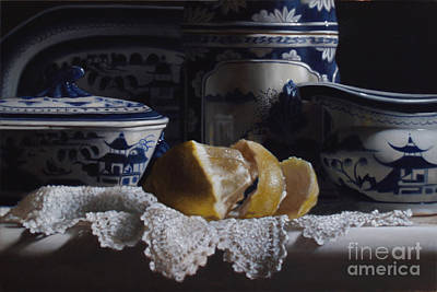 Canton China Lace And Lemon Print by Larry Preston