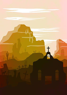 Canyon Painting - Abstract Landscape Ghost Town Art 1 - By Diana Van by Diana Van