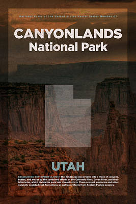 National Parks Mixed Media - Canyonlands National Park In Utah Travel Poster Series Of National Parks Number 07 by Design Turnpike
