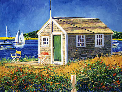 Traditional Art Painting - Cape Cod Boat House by David Lloyd Glover