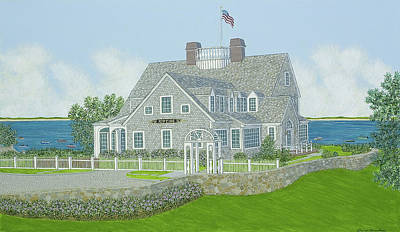 Chatham Painting - Cape Cod House Portrait by David Hinchen