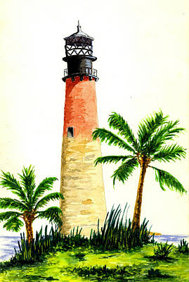 Cape Florida Lighthouse Print by Michael Vigliotti