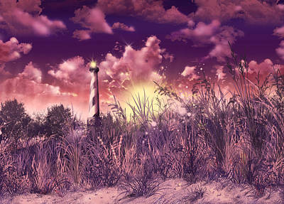 Atlantic Coast Digital Art - Cape Hatteras Lighthouse by Bekim Art