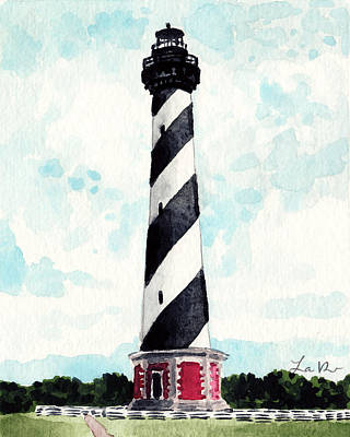 Water Theme Painting - Cape Hatteras Lighthouse Outer Banks North Carolina by Laura Row