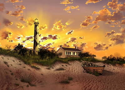 Atlantic Coast Digital Art - Cape Lookout Lighthouse 2 by Bekim Art