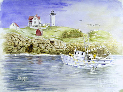 Cape Neddick Painting - Cape Neddick Lighthouse by Stephen Serina
