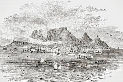 South Africa Drawing - Cape Town South Africa From Table Bay by Vintage Design Pics