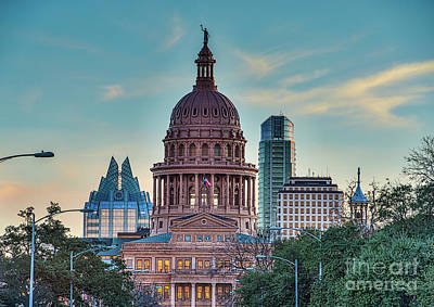 Capital Of Texas At Dusk Print by Tod and Cynthia Grubbs