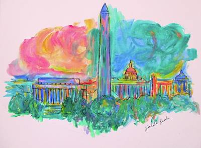 Washington Monument Mixed Media - Capital Swirl by Kendall Kessler
