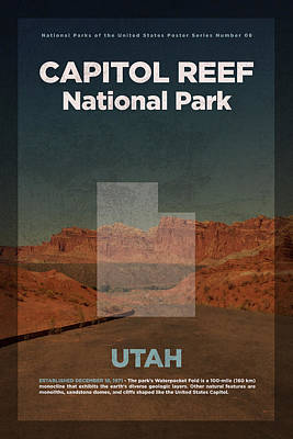 Reef Shark Mixed Media - Capitol Reef National Park In Utah Travel Poster Series Of National Parks Number 08 by Design Turnpike