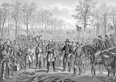 Capitulation And Surrender Of Robert E Lee Print by American School