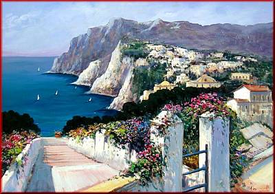 Seastorm Painting - Capri Italy by Antonio Iannicelli
