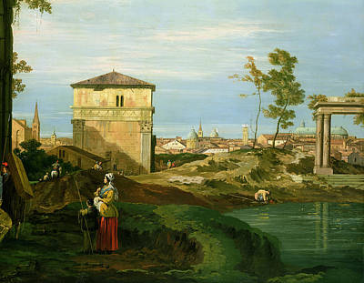 Italian Landscapes Painting - Capriccio With Motifs From Padua by Canaletto