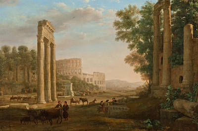 Italian Landscape Painting - Capriccio With Ruins Of The Roman Forum by Claude Lorrain