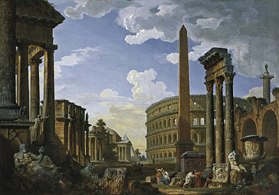 Giovanni Paolo Panini Painting - Capriccio With The Most Important Monuments And Sculptures Of Ancient Rome by Giovanni Paolo Panini