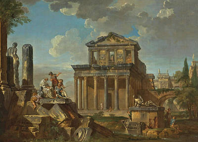 Painting - Capriccio With The Temple Of The Divine Antoninus Pius And Faustina by Giovanni Paolo Panini and Studio