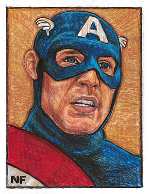 Captain America As Portrayed By Actor Chris Evans Print by Neil Feigeles