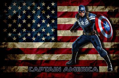 Captain America Print by Hans Wolfgang Muller Leg