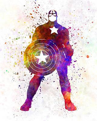 Captain America In Watercolor Print by Pablo Romero