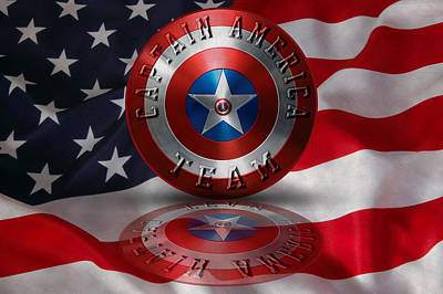 Captain America Team Typography On Captain America Shield  Print by Georgeta Blanaru