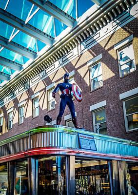 Carlos Ruiz Painting - Captain America To The Rescue by Carlos Ruiz