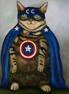 July 4th Painting - Captain Cat Super Hero by Leah Saulnier The Painting Maniac