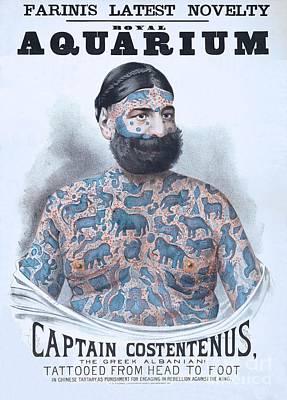 Freak Show Drawing - Captain Costentenus Tattoed From Head To Foot by Heidi De Leeuw