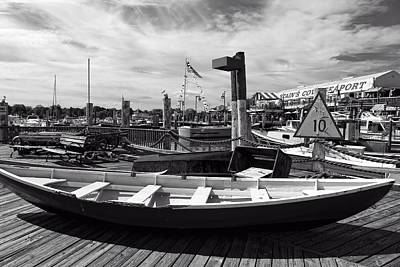 Netting Photograph - Captain Cove Seaport Bw by Mountain Dreams