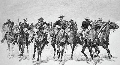 Horseback Drawing - Captain Dodge's Troopers To The Rescue by Frederic Remington