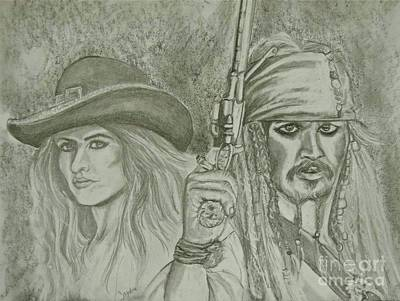 captain Jack Sparrow and Angelica Print by Sandra Valentini