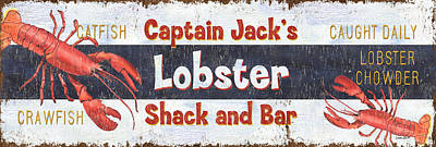Wood Fish Painting - Captain Jack's Lobster Shack by Debbie DeWitt
