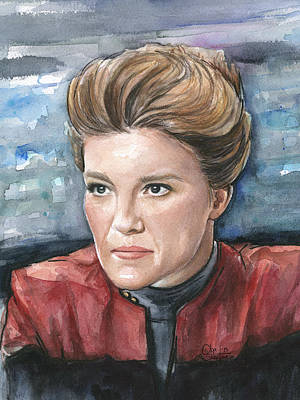 Science Fiction Mixed Media - Captain Kathryn Janeway Portrait by Olga Shvartsur