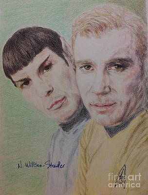 Captain Kirk And First Officer Spock Print by N Willson-Strader