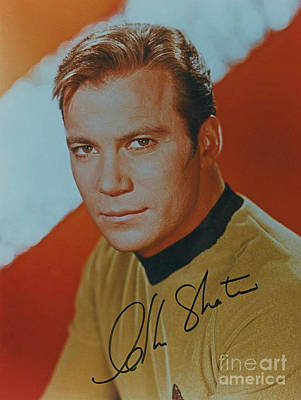 Captain Kirk Painting - Captain Kirk Autographed Poster by Pd