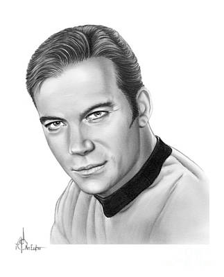 Famous People Drawing - Captain Kirk- William Shatner by Murphy Elliott