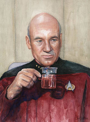 Captain Picard Earl Grey Tea Print by Olga Shvartsur