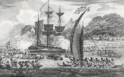 Primitive Drawing - Captain Wallis Attacked By The Indians, 1767  by English School