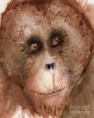 Orangutan Painting - Captivating by Rhonda Hancock