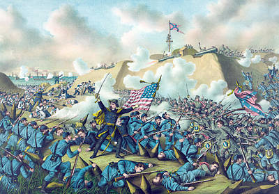 Capture Of Fort Fisher Print by American School